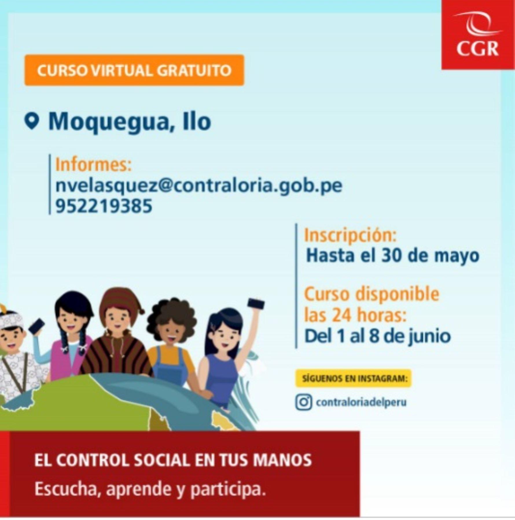 Ciudadanos de Ilo recibirán capacitación virtual sobre rol vigilante de control público