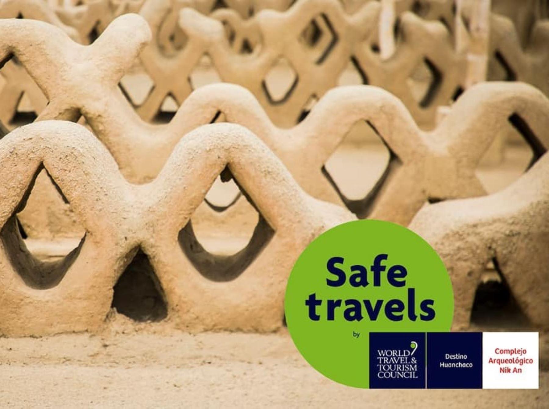 El complejo arqueológico Chan Chan, ubicado en Trujillo, recibió oficialmente el Sello Safe Travels que lo reconoce como destino turístico seguro ante la covid-19.  ANDINA/Difusión