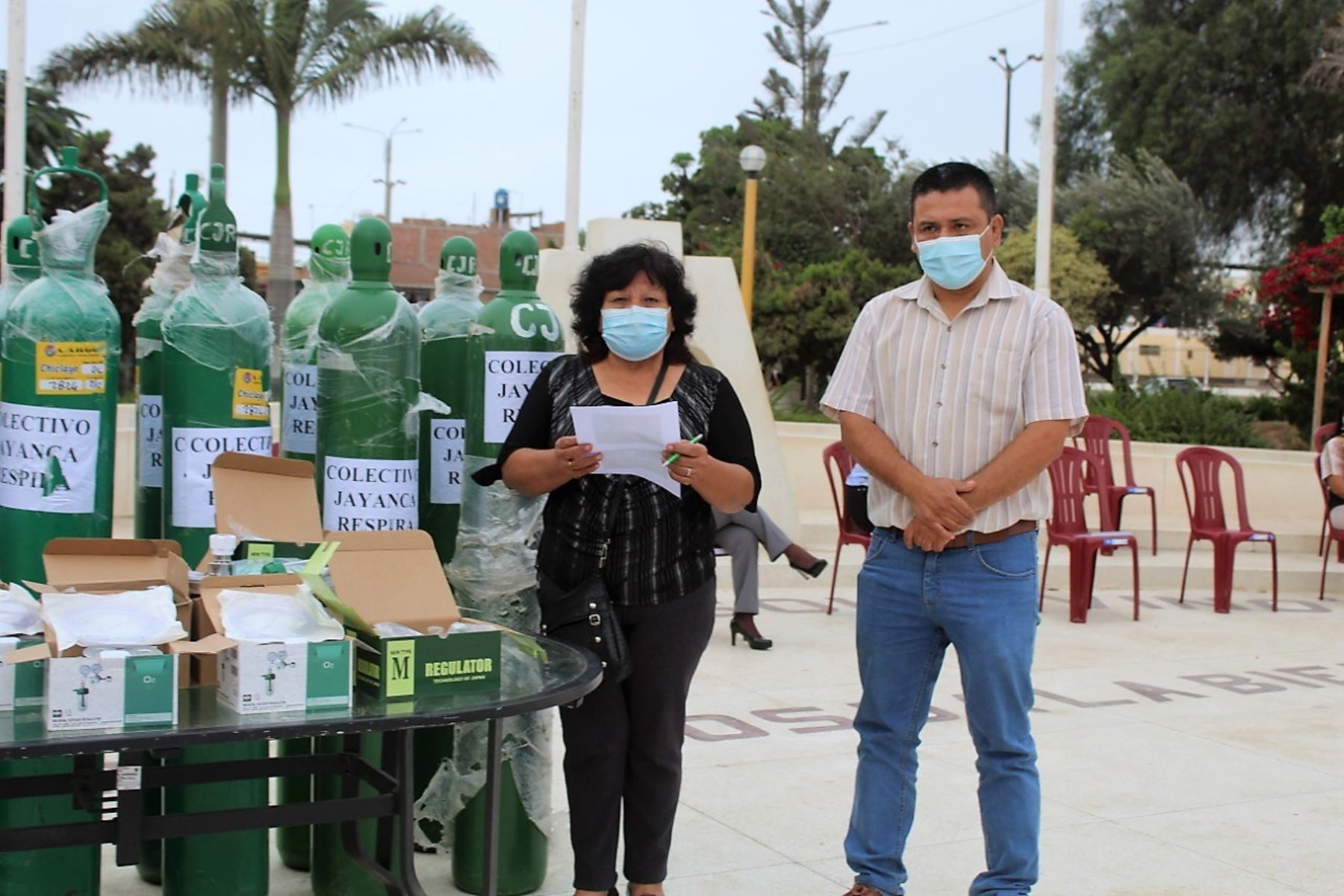 Municipalidad distrital de Jayanca, en Lambayeque, recibió una donación de 20 balones de oxígeno medicinal. Foto: ANDINA/Difusión