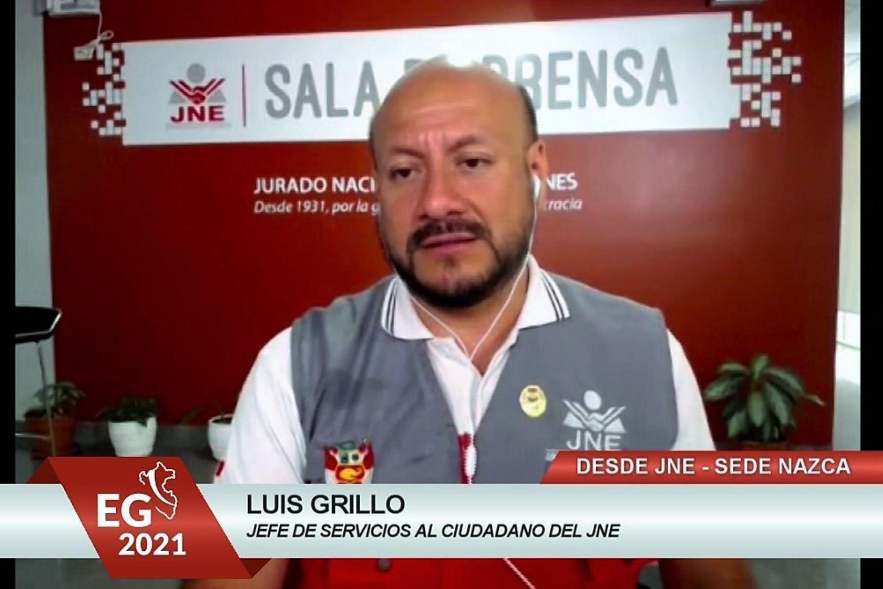 Jefe de Servicios al Ciudadano del JNE, Luis Grillo Teagua,