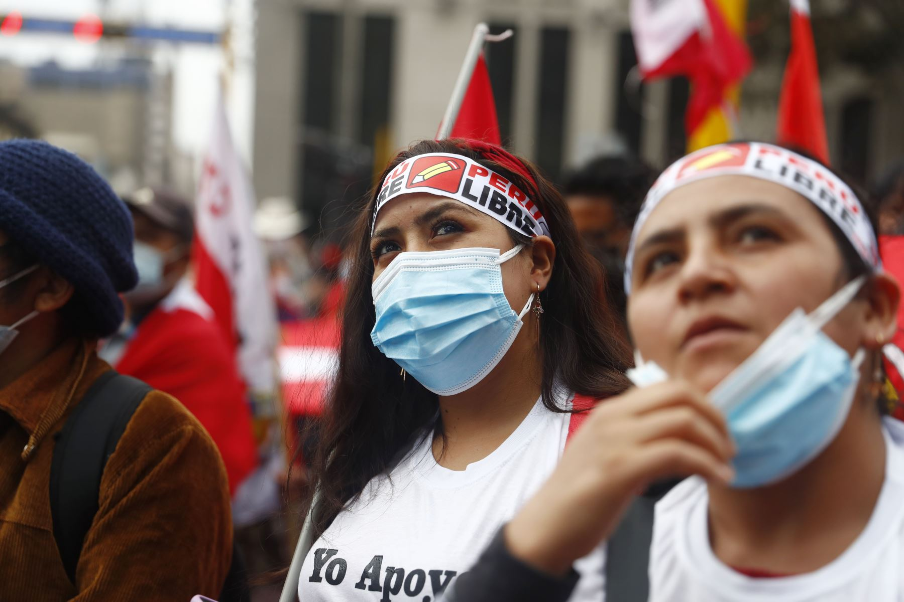 Partidarios de Perú Libre en apoyo al candidato Pedro Castillo. Foto: ANDINA/Renato Pajuelo