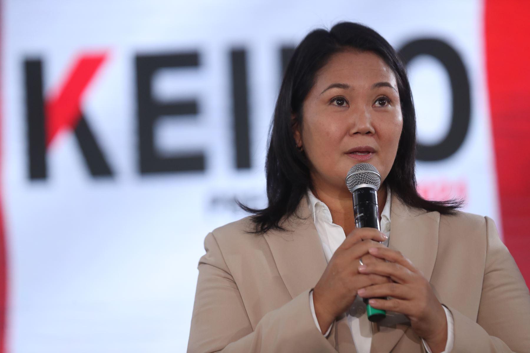 Conferencia de prensa de Keiko Fujimori candidata de Fuerza Popular. Foto: ANDINA/Carla Patiño Ramírez
