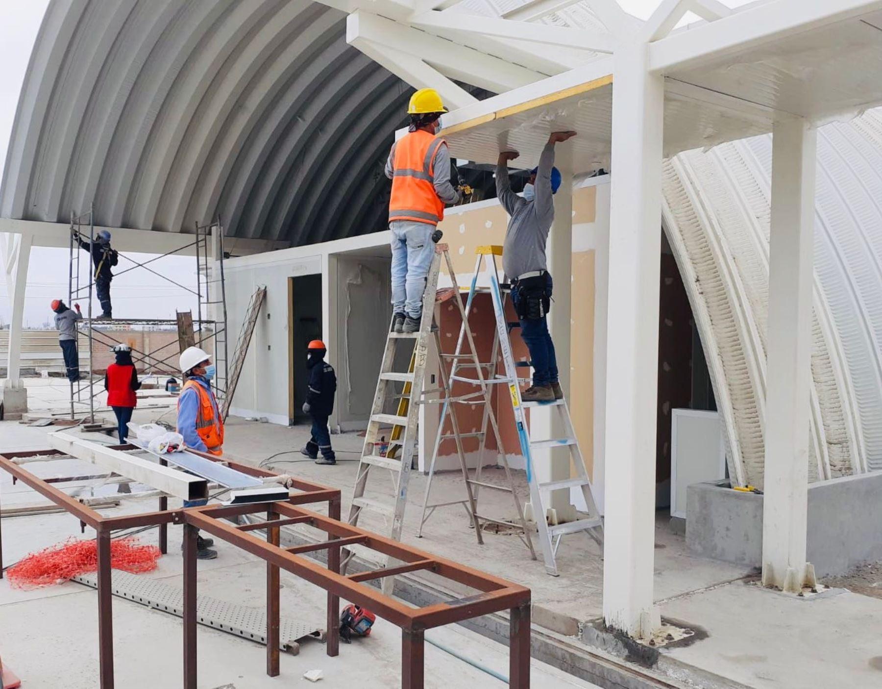 Ica acelera la construcción del primer hospital modular del Perú y estará listo en julio, anuncia el Programa Nacional de Inversiones en Salud del Minsa, encargado de ejecutar la obra. Foto: ANDINA/difusión.