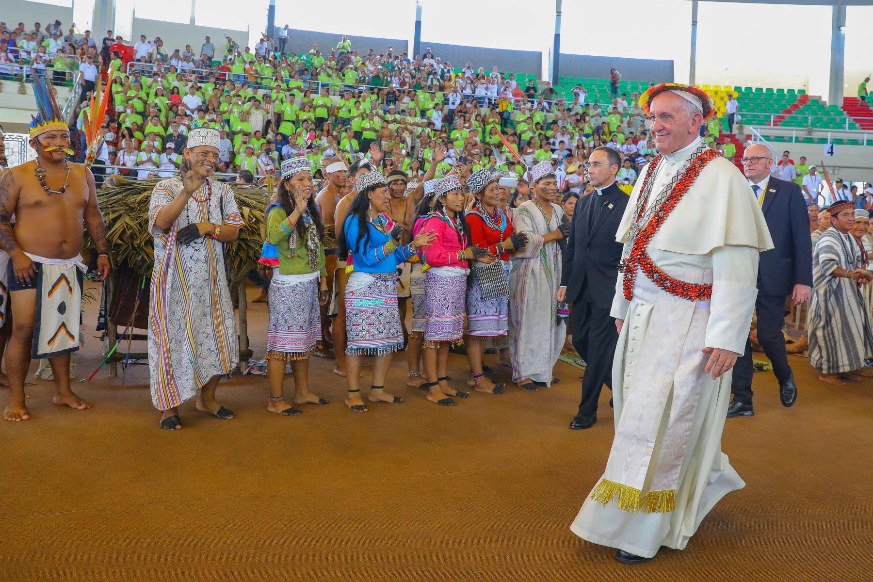 Fotografía tomada el 19 enero 2018 / Encuentro del Papa Francisco con los pueblos de la Amazonia en el Coliseo Regional de  Madre de Dios.  Foto: ANDINA/Andrés Valle