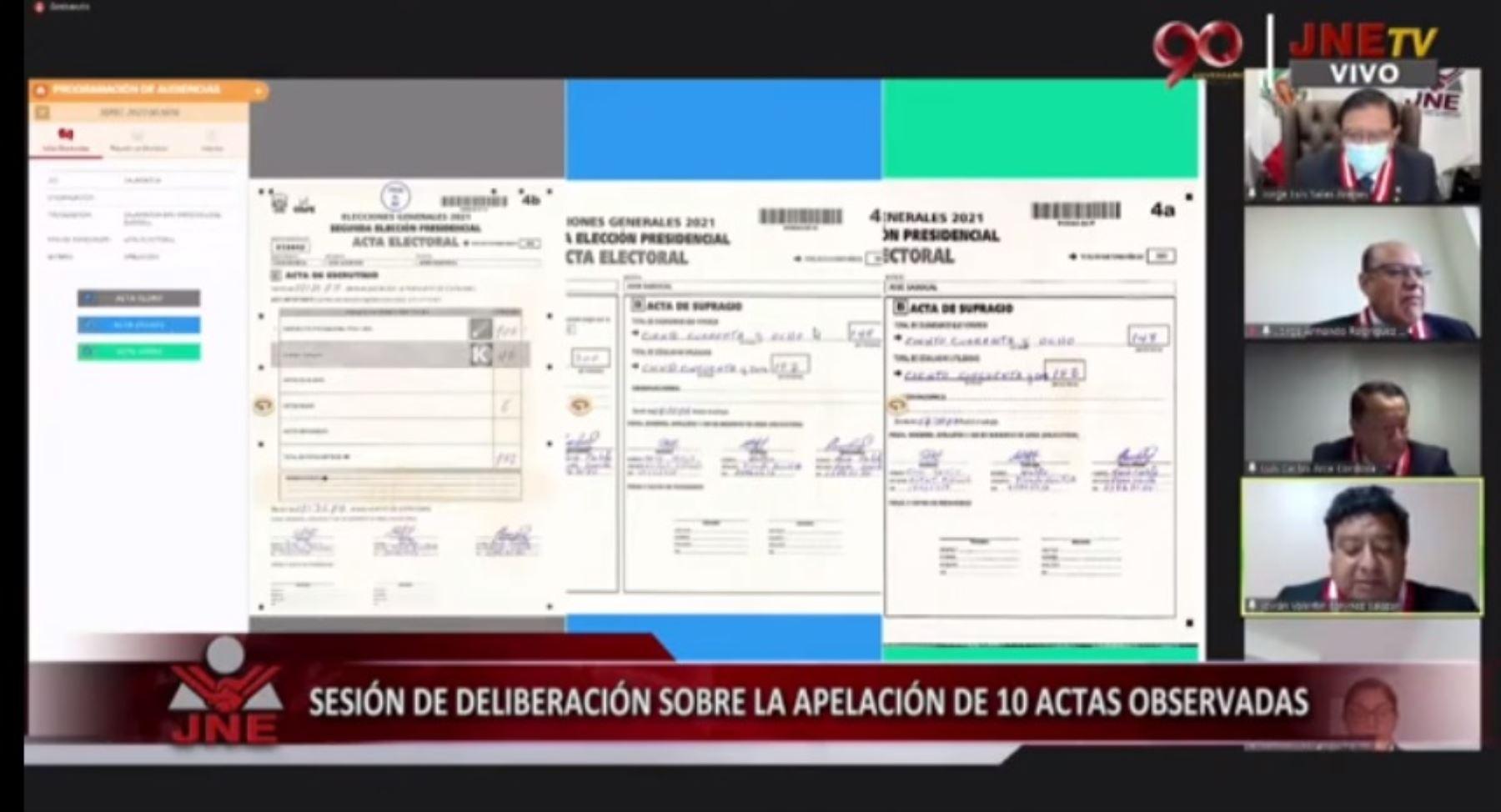 Sesión virtual del pleno del JNE.