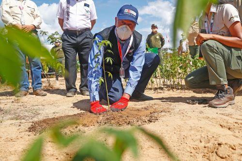 Presidente Francisco Sagasti, supervisa la jornada de inmunización y los avances de reforestación en la Reserva Nacional Tambopata
