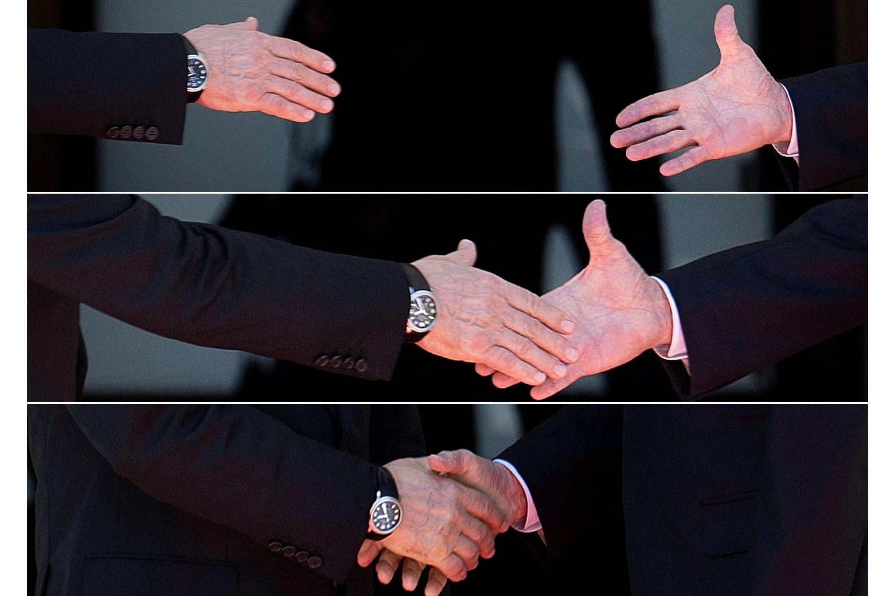 """Detalle de las manos de Putin y Biden tras saludarse a la entrada del palacete. El presidente de Suiza deseó a Putin y a Biden una """"reunión fructífera en el interés de sus respectivos países y del mundo entero"""". Foto: AFP"""