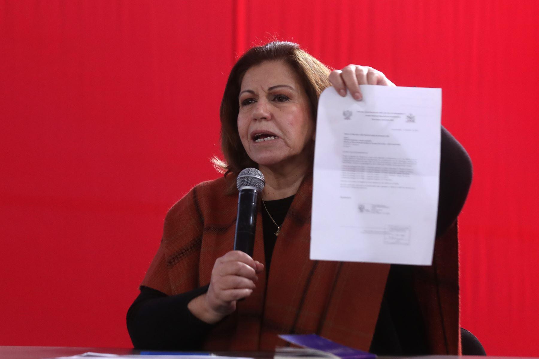 Exlegisladora Lourdes Flores Nano, durante la conferencia de prensa de la candidata a la presidencia, Keiko Fujimori. Foto: ANDINA/ Carla Patiño