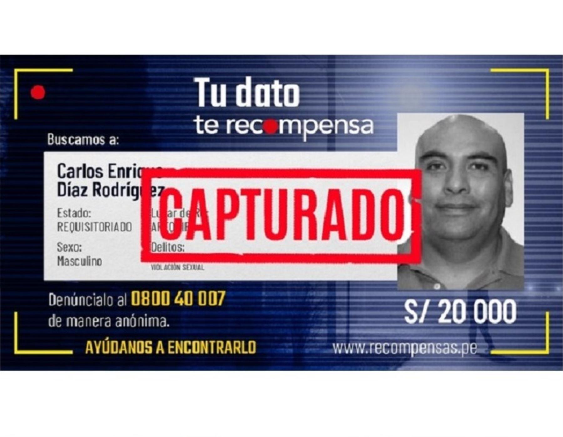Policía capturó a Enrique Díaz Rodríguez quien enfrenta una condena por feminicidio en Arequipa.