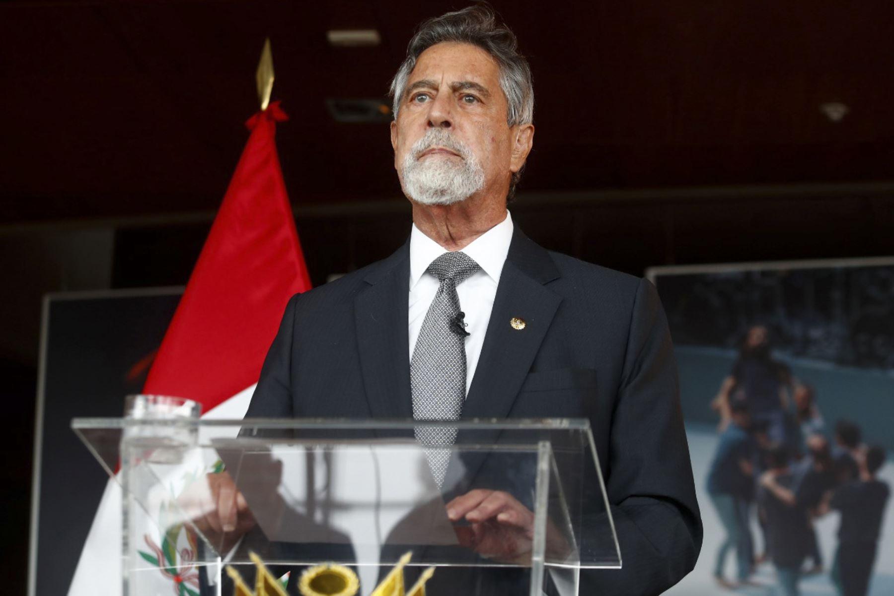 Pronunciamiento del presidente Francisco Sagasti. ANDINA/Prensa Presidencia