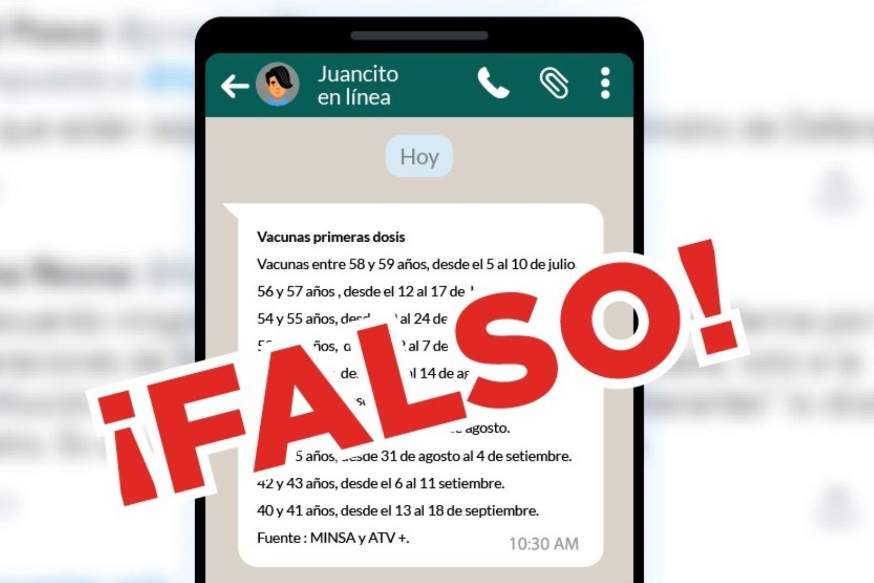 Covid-19: Minsa alerta de falsos mensajes sobre vacunación a mayores de 50 años. Foto: ANDINA/Difusión.