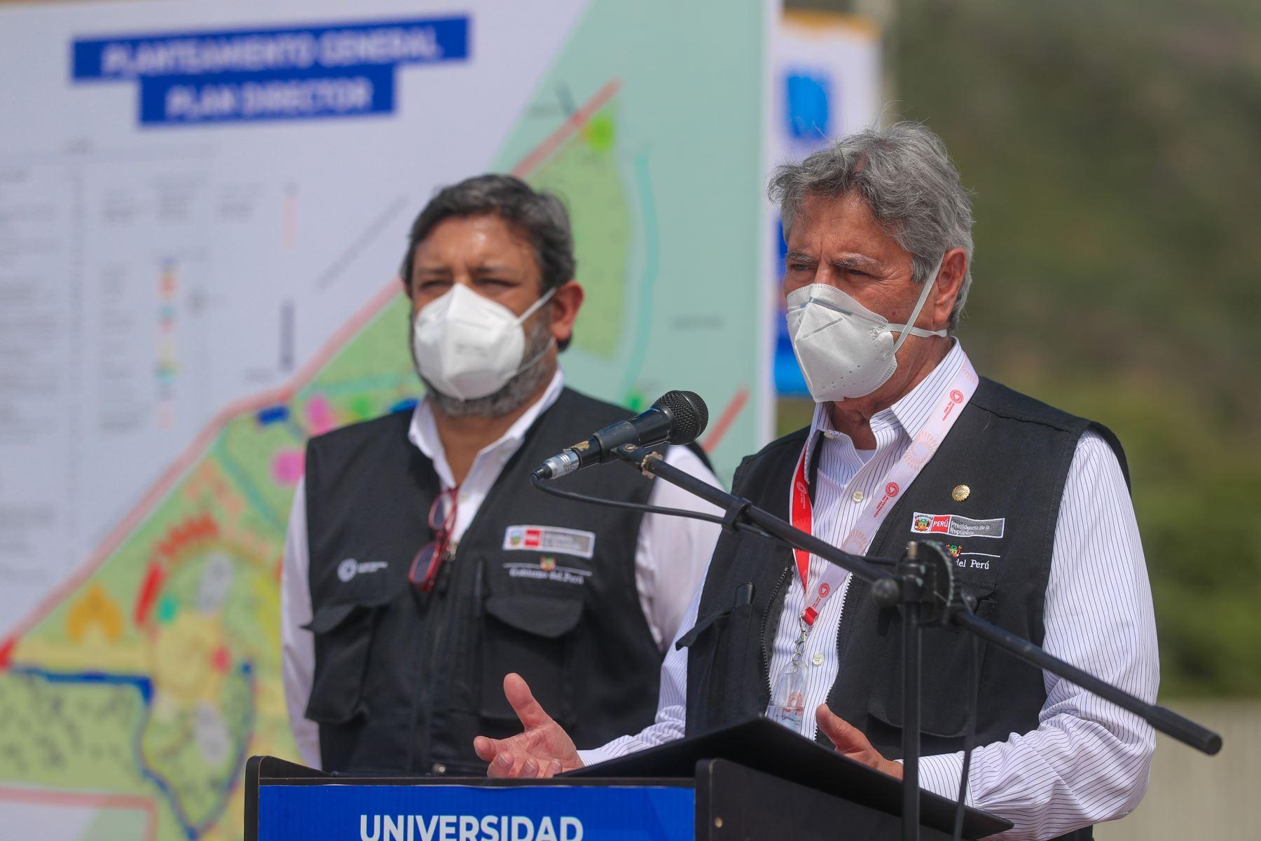 El presidente Francisco Sagasti, supervisa el avance de la nueva ciudad universitaria de la Universidad Nacional de Jaén en Cajamarca. Foto: ANDINA/ Prensa Presidencia