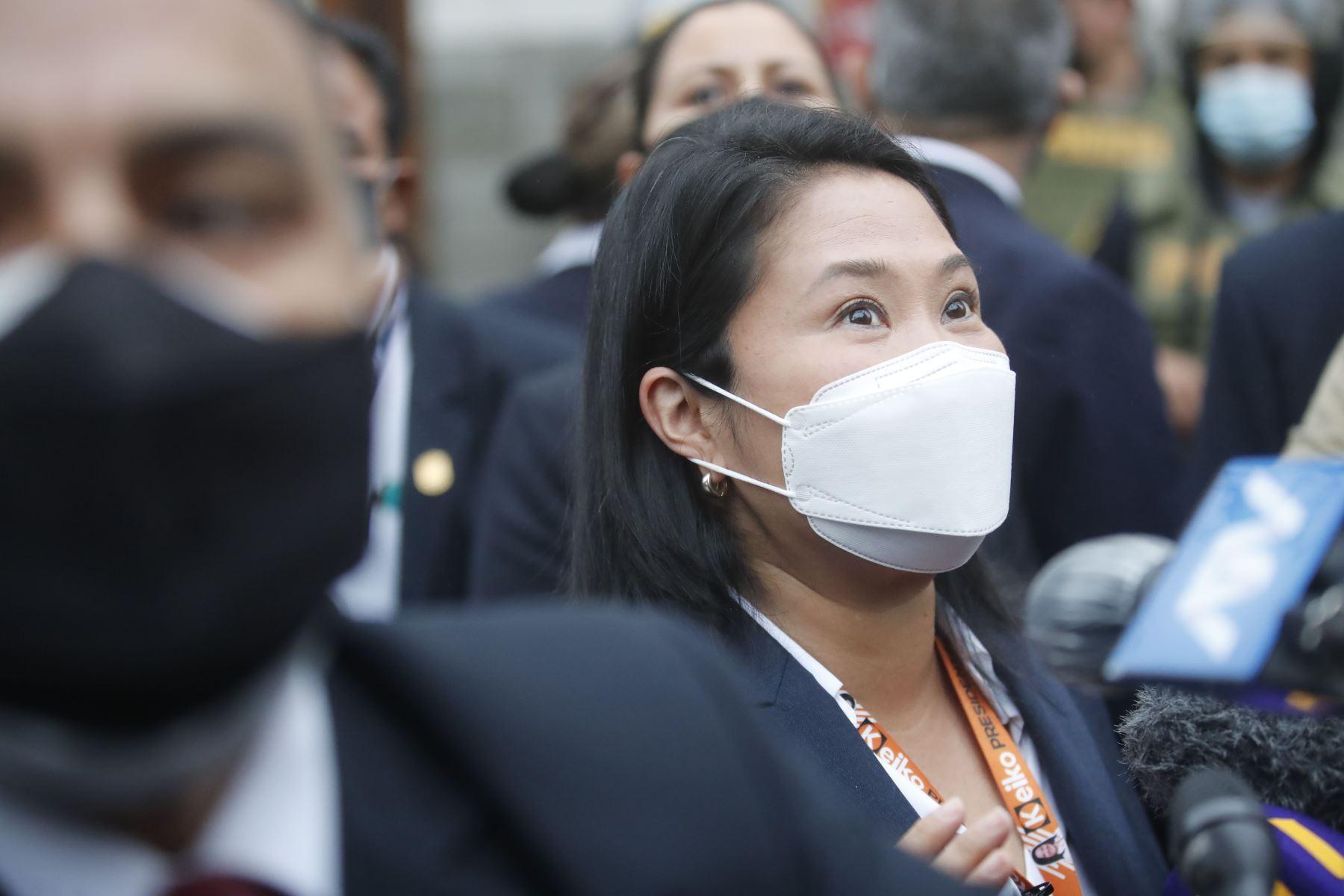 La candidata presidencial, Keiko Fujimori, a su salida de la sala de audiencia del Poder Judicial. Foto: ANDINA/Juan Carlos Guzmán