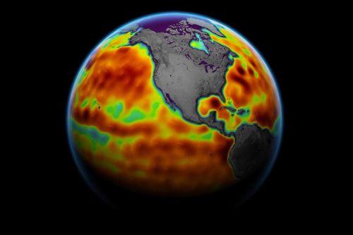 Este mapa muestra el nivel del mar medido por el satélite Sentinel-6 Michael Freilich entre el 5 y el 15 de junio del 2021. Las áreas rojas son regiones donde el nivel del mar es más alto de lo normal y las áreas azules indican áreas donde es más bajo de lo normal. Foto:  NASA