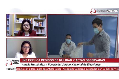 Amelia Hernández, especialista del JNE, entrevistada en el programa Andina al Día.
