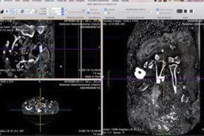 Reconstrucción digital de los escaneos de los fardos funerarios. Foto: PUCP