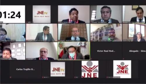 Audiencia virtual del JNE con abogados de Fuerza Popular y Perú Libre.