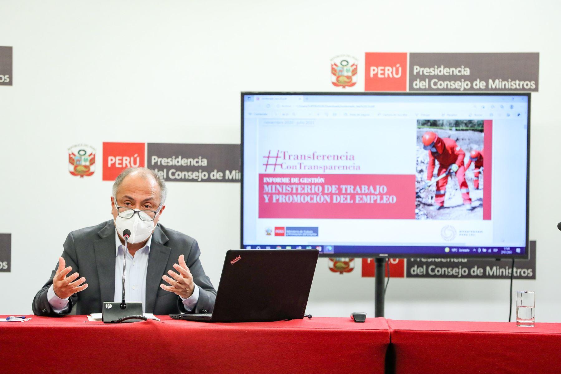 Ministro Palacios: El subsidio a la planilla formal suma S/ 300 millones hasta la fecha