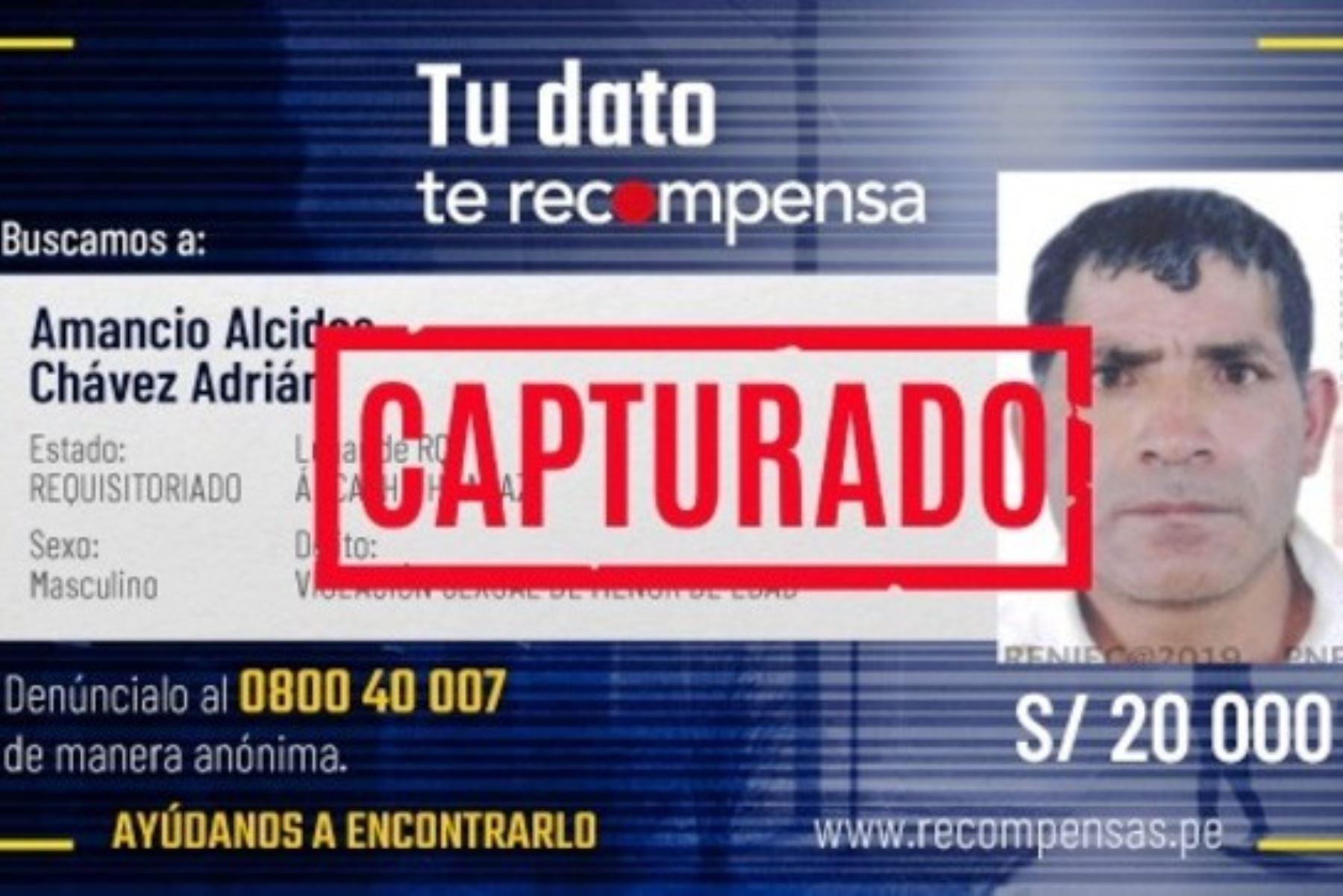 Policía Nacional del Perú capturó a Amancio Alcides Chávez Adrián, por la supuesta violación de una menor de edad. Foto: ANDINA/Difusión.