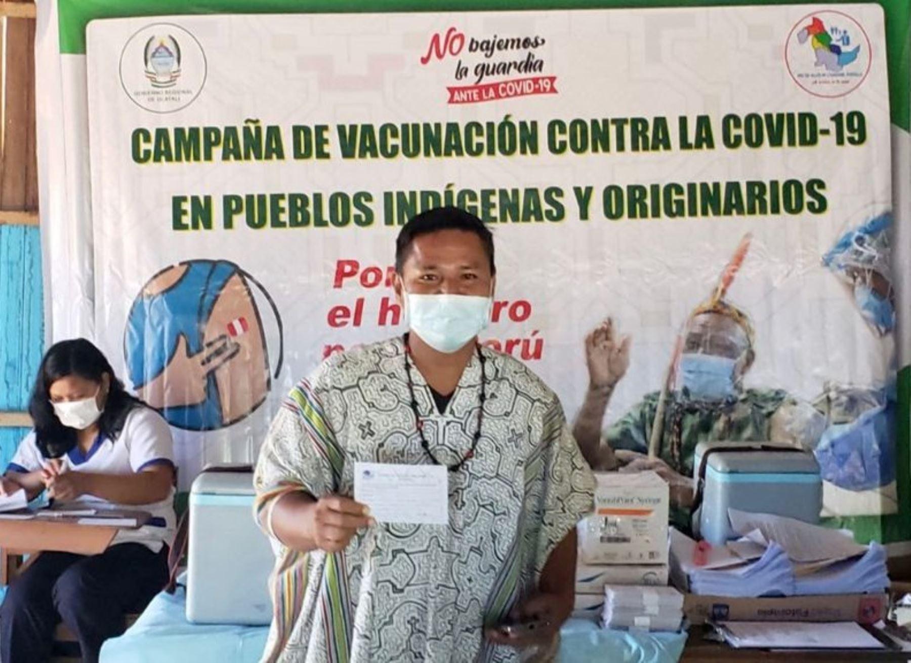 El Ministerio de Salud (Minsa) destacó el inicio de la vacunación contra la covid-19 en poblaciones indígenas de la región Ucayali. ANDINA/Difusión