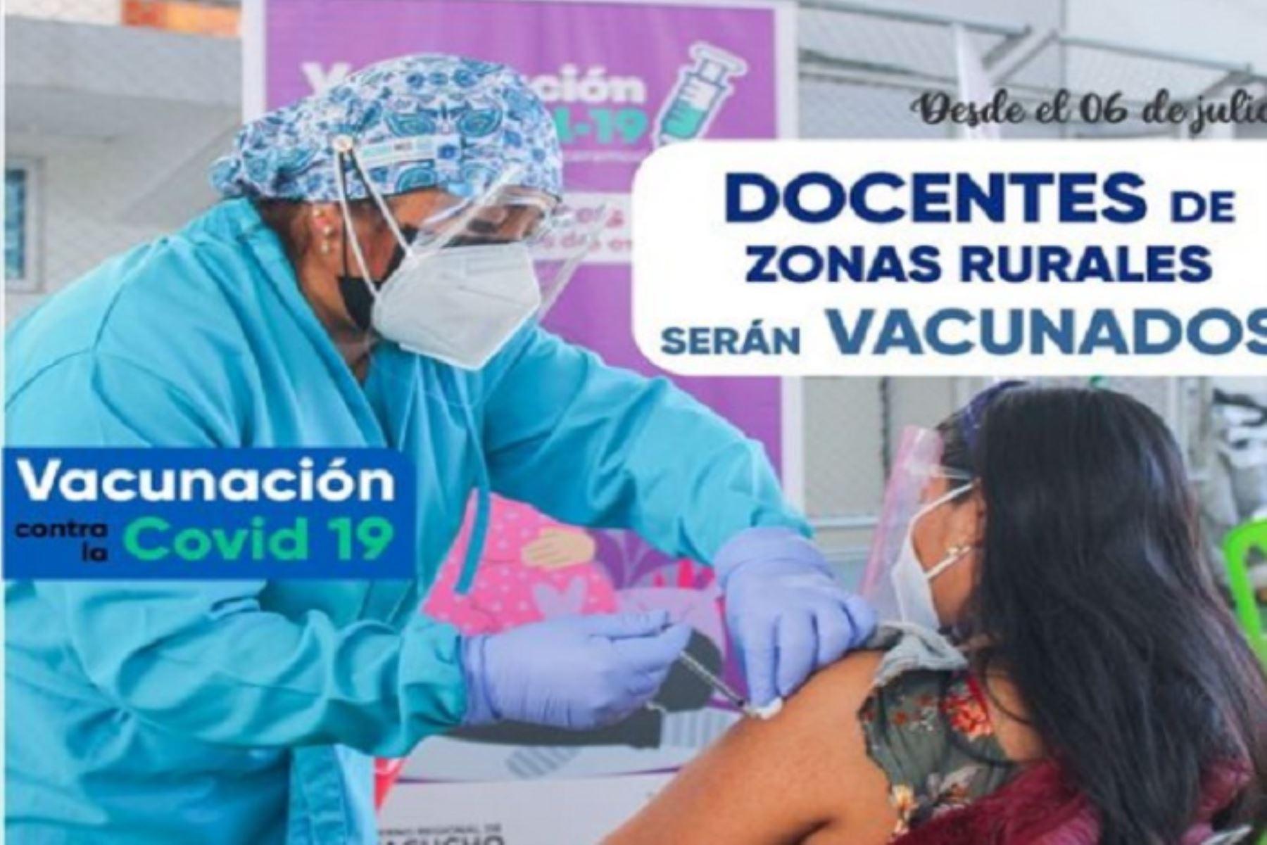 Proceso de inmunización a los profesores rurales se lanzará en la Institución Educativa Mariscal Cáceres.