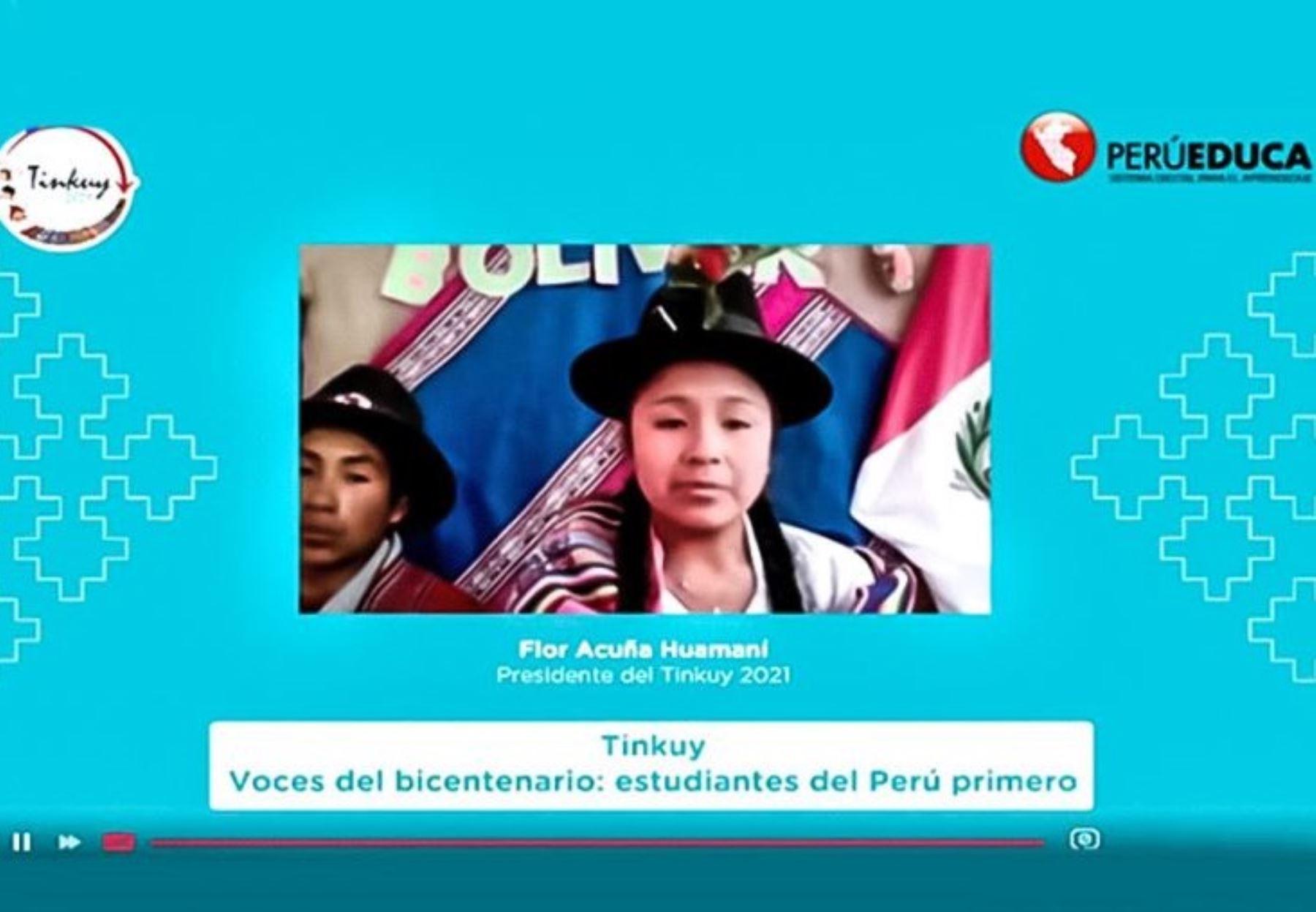 Flor Acuña se convierte en la primera niña en asumir la presidencia del X Encuentro Nacional de Niños y Niñas de Pueblos Originarios, Afroperuanos y de otras Tradiciones Culturales Tinkuy 2021. ANDINA/Difusión