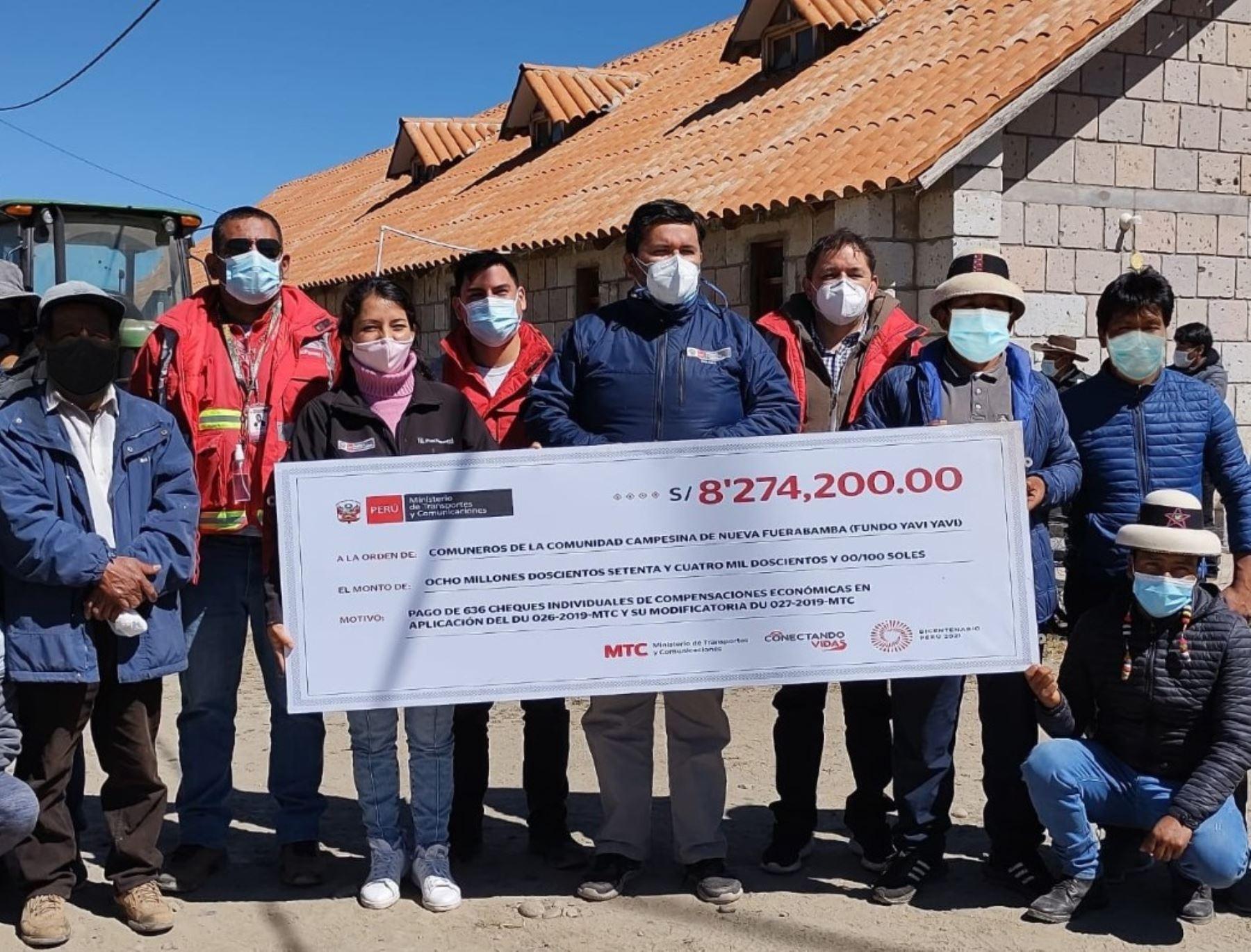 Cusco: MTC cumple con pagos por terrenos en Yavi Yavi para el Corredor Vial Sur