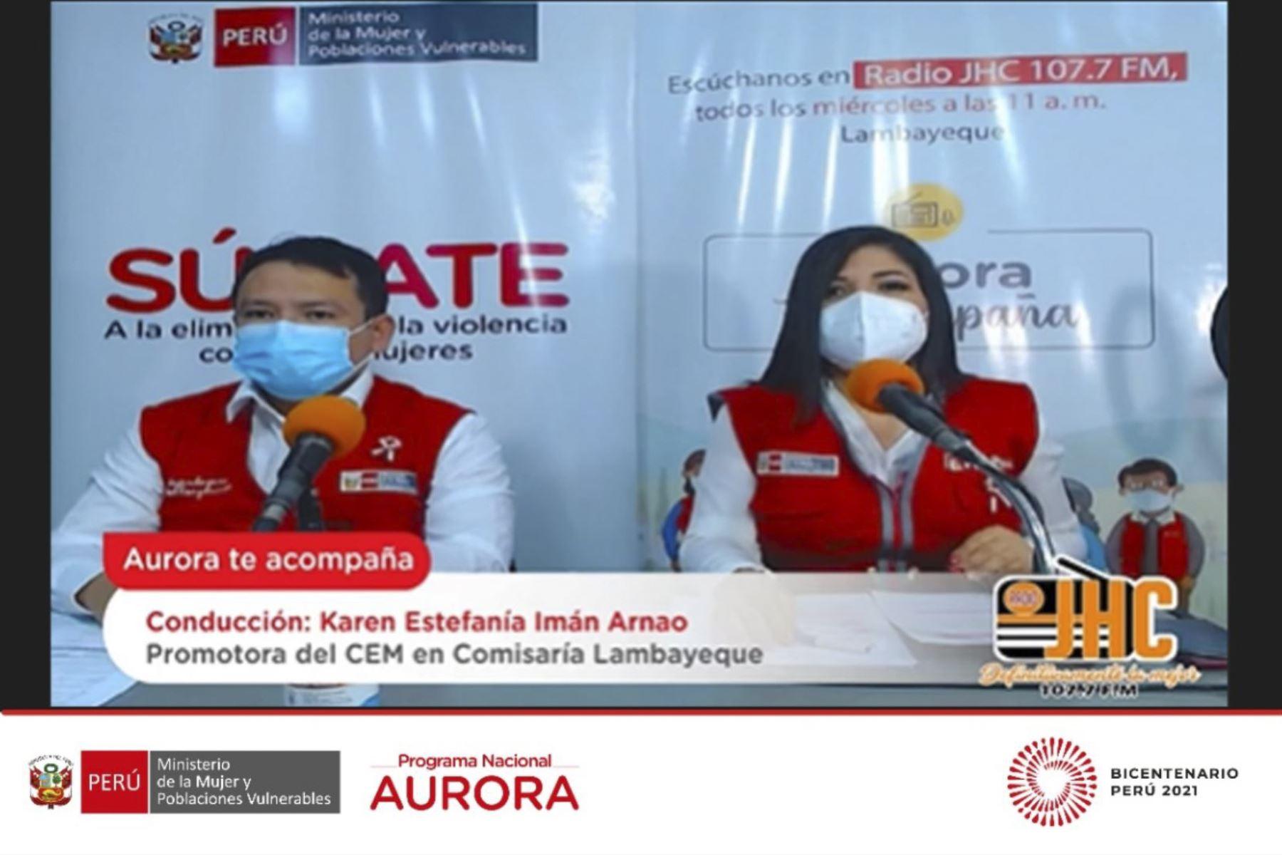 """Lambayeque: lanzan programa radial """"Aurora te acompaña"""" para prevenir violencia de género"""