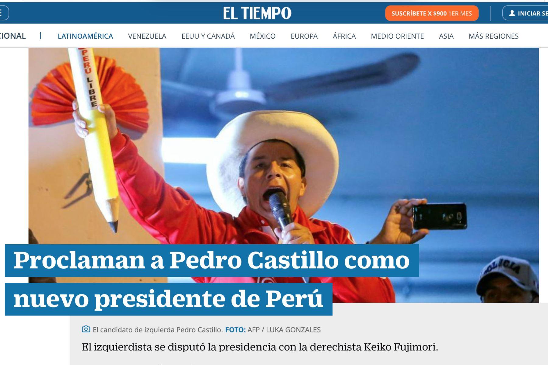Prensa extranjera informa así sobre proclamación de Pedro Castillo como presidente de Perú