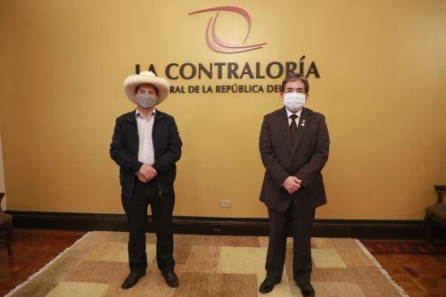 Presidente electo Pedro Castillo se reunió con el contralor general para coordinar proceso de transferencia