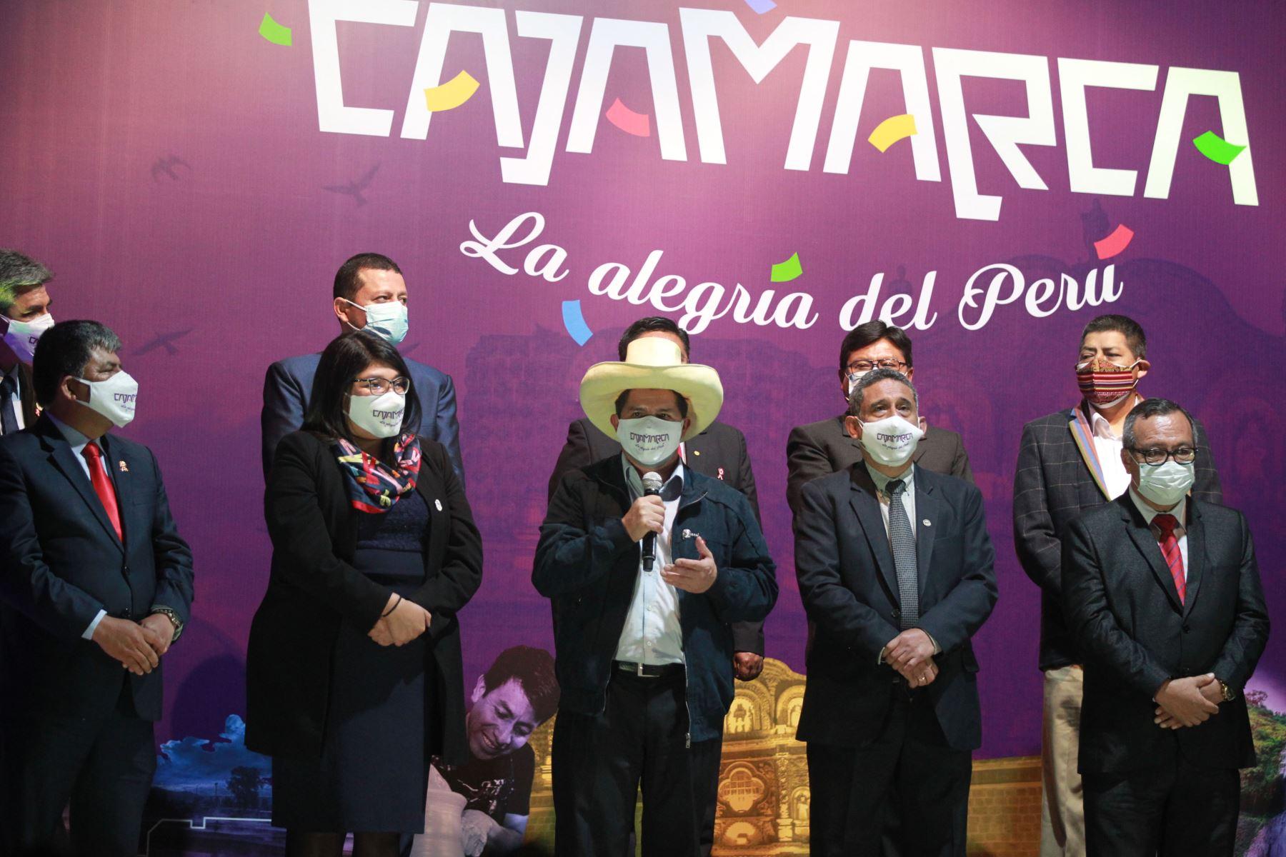 El presidente electo Pedro Castillo participa en el lanzamiento de la Marca Cajamarca a nivel nacional desde el Circuito Mágico del Agua.  Foto: ANDINA/Jhony Laurente