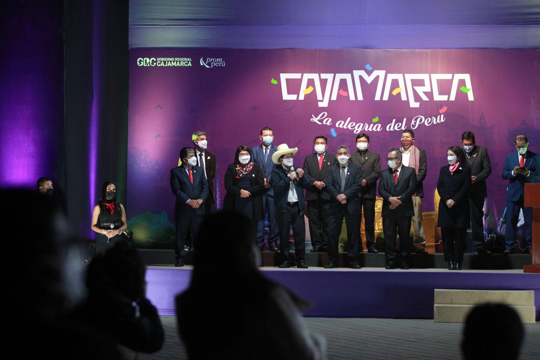 El presidente electo, Pedro Castillo, asistió esta noche al lanzamiento de la Marca Cajamarca, evento que tiene como objetivo promocionar diversos atractivos turísticos que tiene el país. Foto: ANDINA/Jhony Laurente