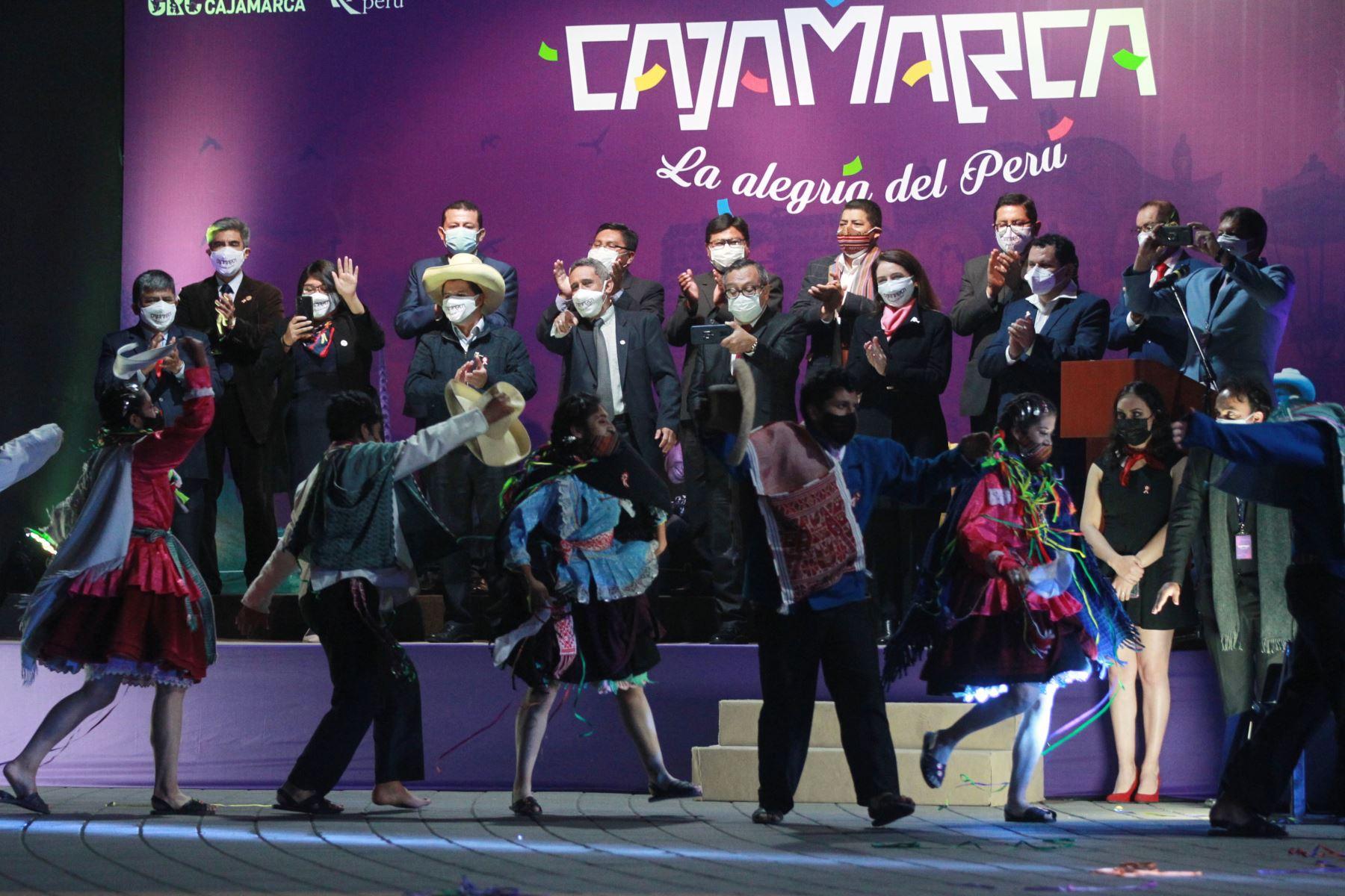 El presidente electo, Pedro Castillo, asistió esta noche al lanzamiento de la Marca Cajamarca, evento que tiene como objetivo promocionar diversos atractivos turísticos que tiene el país.Foto: ANDINA/Jhony Laurente