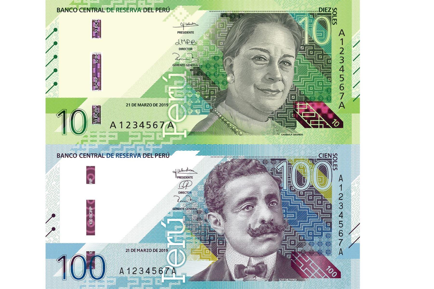 Nuevos billetes de S/ 10 y S/ 100 con nuevos diseños