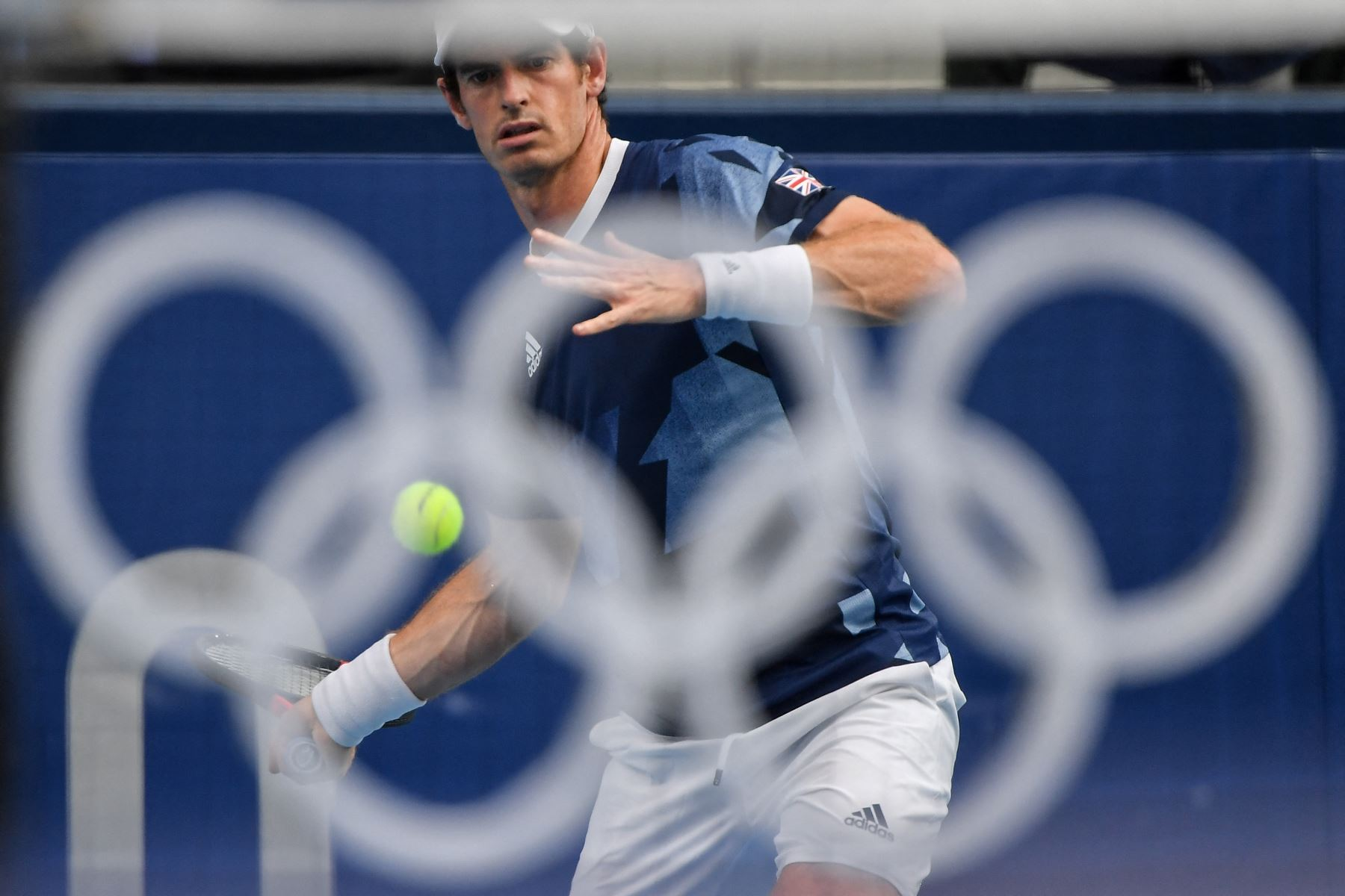 El británico Andy Murray asiste a una sesión de entrenamiento en el Ariake Tennis Park antes de los Juegos Olímpicos de Tokio 2020 en Tokio. Foto: AFP