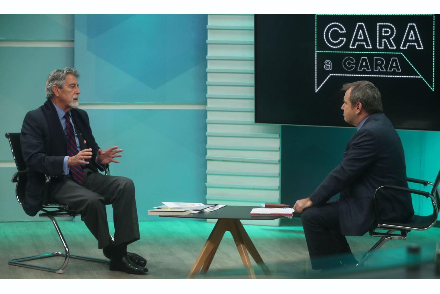 El presidente Francisco Sagasti brinda entrevista al programa Cara a Cara de TV Perú. Foto: ANDINA/Prensa Presidencia