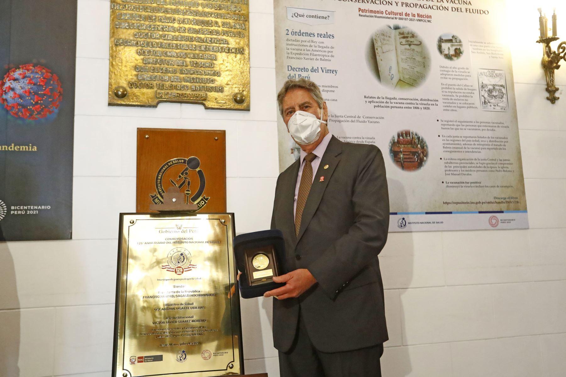 El Presidente Francisco Sagasti, participa en la ceremonia por el 125º aniversario del Instituto Nacional de Salud . Foto: ANDINA/ Prensa Presidencia