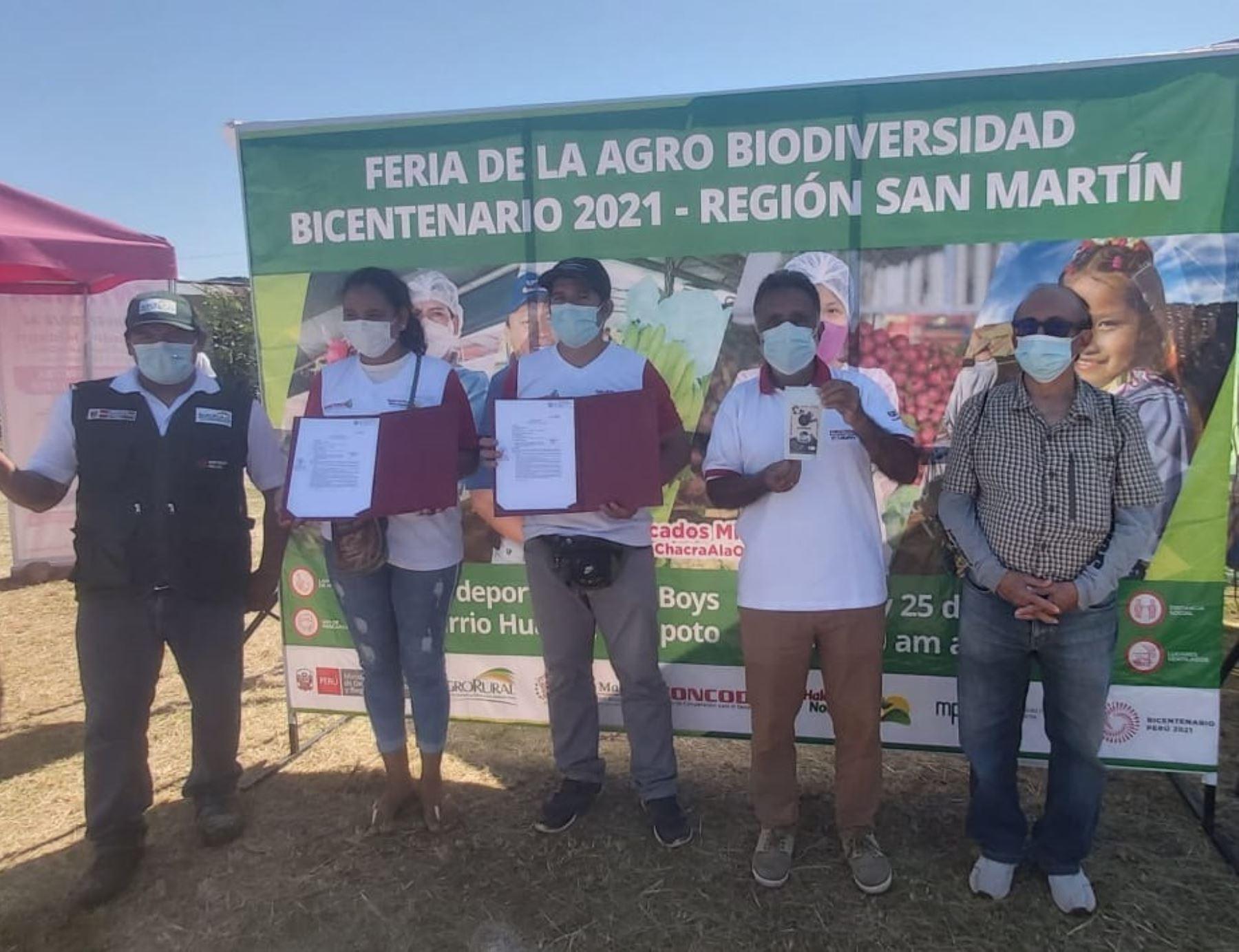 Emprendedores agrícolas de San Martín participan en Feria de la Agrobiodiversidad Bicentenario 2021 que se realiza en Tarapoto.