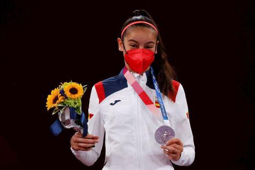 Adriana Cerezo, medalla de plata en Taekwondo en los Juegos Olímpicos Tokio 2020. Foto: EFE