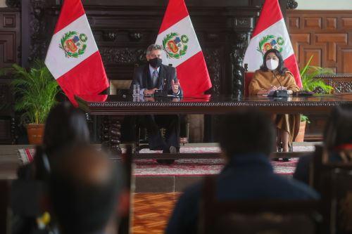 El presidente de la República, Francisco Sagasti, brinda la última conferencia de prensa del Gobierno de Transición y Emergencia
