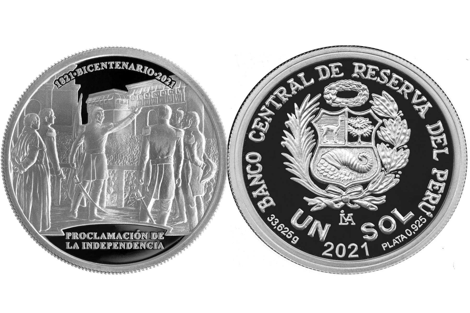 Moneda de plata alusiva al Bicentenario de la Proclamación de la Independencia.