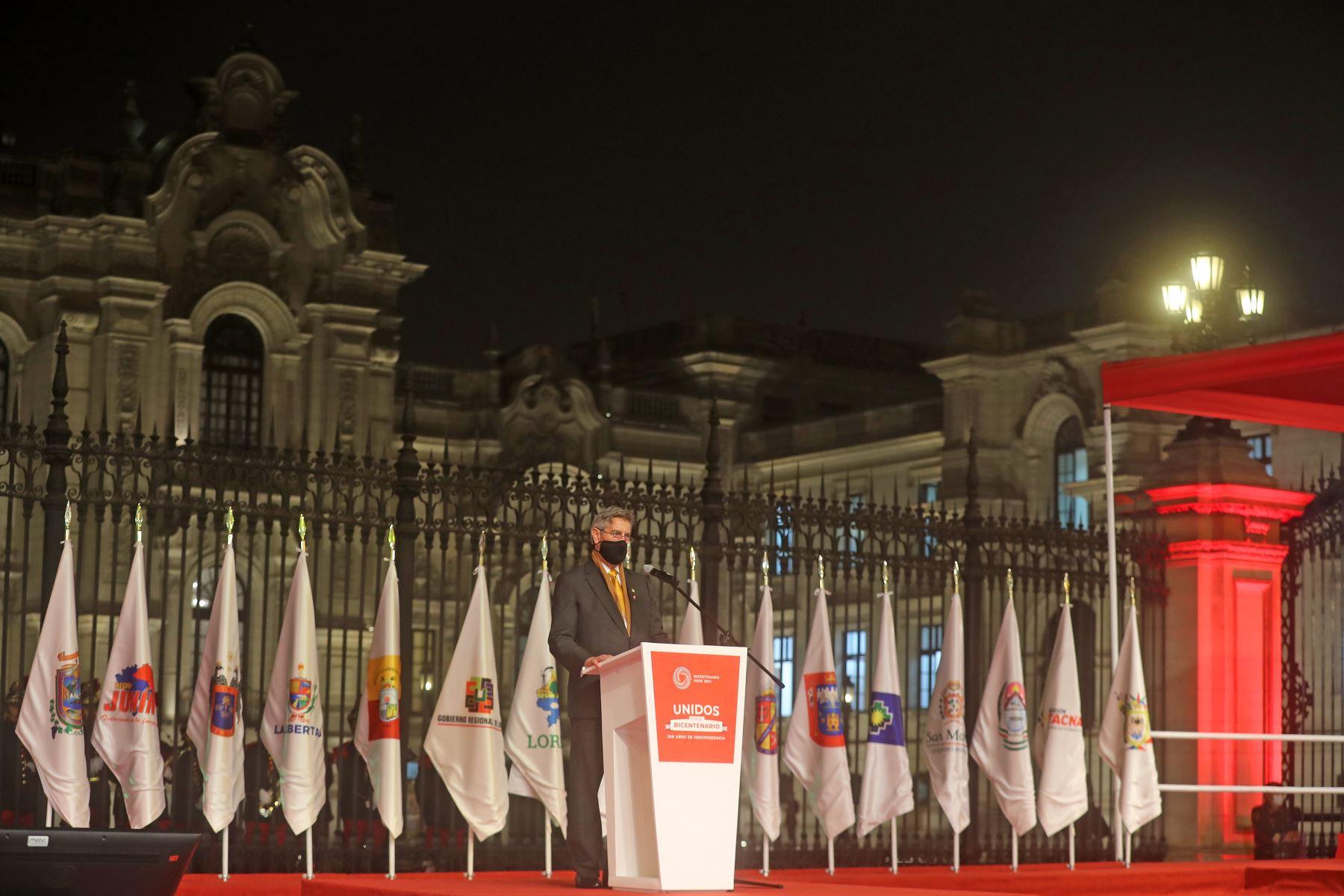 El presidente del Perú , Francisco Sagasti , lidera la ceremonia Unidos por el Bicentenario: 200 años de Independencia. Foto: ANDINA/Prensa Presidencia