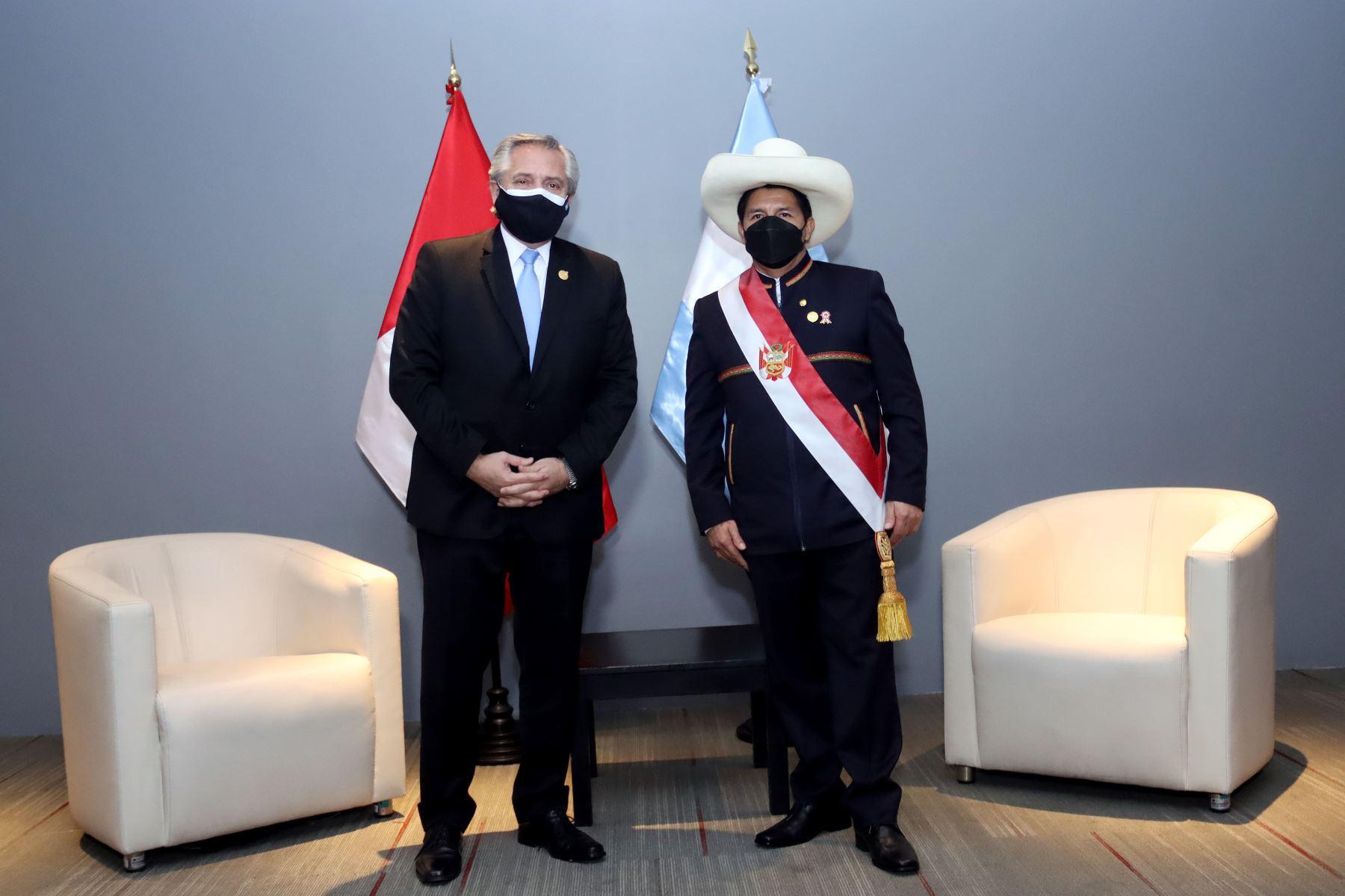El presidente de la República Pedro castillo sostuvo una reunión bilateral con el presidente de Argentina Alberto Fernández. Foto: ANDINA/Prensa Presidencia