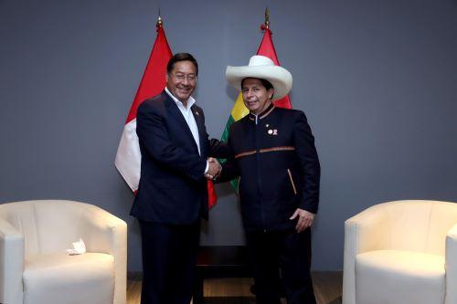 El presidente de la República, Pedro Castillo, sostuvo una reunión protocolar con su similar de Bolivia, Luis Arce Catacora