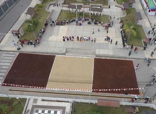 Agricultores de Villa Rica, región Pasco, elaboraron una bandera peruana a base de granos de café como parte de las actividades por Fiestas Patrias y el bicentenario de la Independencia.