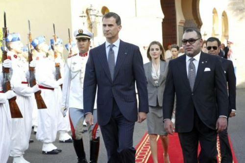 Felipe VI y Mohamed VI con la compañía de la reina Letizia. Foto: Efe.