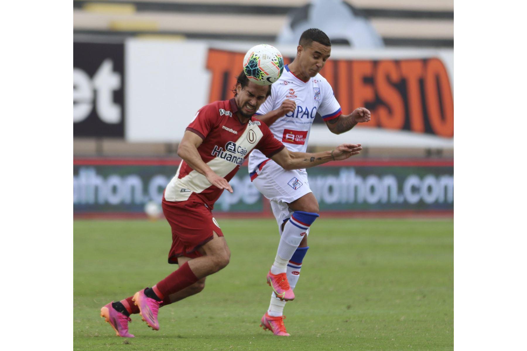 Universitario choca ante Carlos Manucci en partido por la tercera fecha de la Liga 1, en el Estadio Miguel Grau. Foto: Liga 1