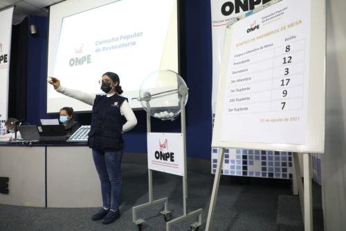 ONPE sortea a 606 miembros de mesa para Consulta Popular de Revocatoria 2021