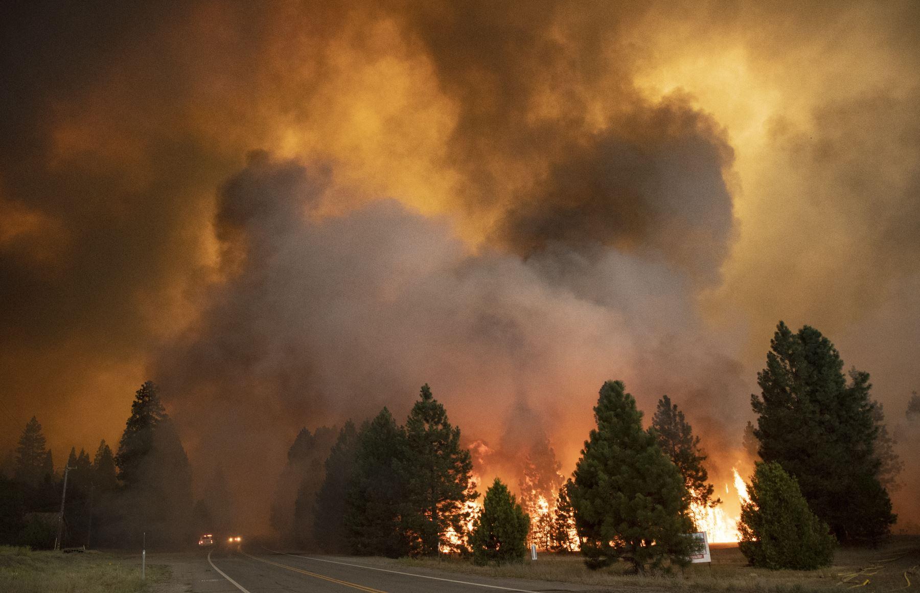 Las llamas del incendio de Dixie arrasaron Greenville, California. El incendio de Dixie arrasó decenas de hogares y negocios en el centro de Greenville y continúa avanzando hacia otras comunidades residenciales. Foto:AFP