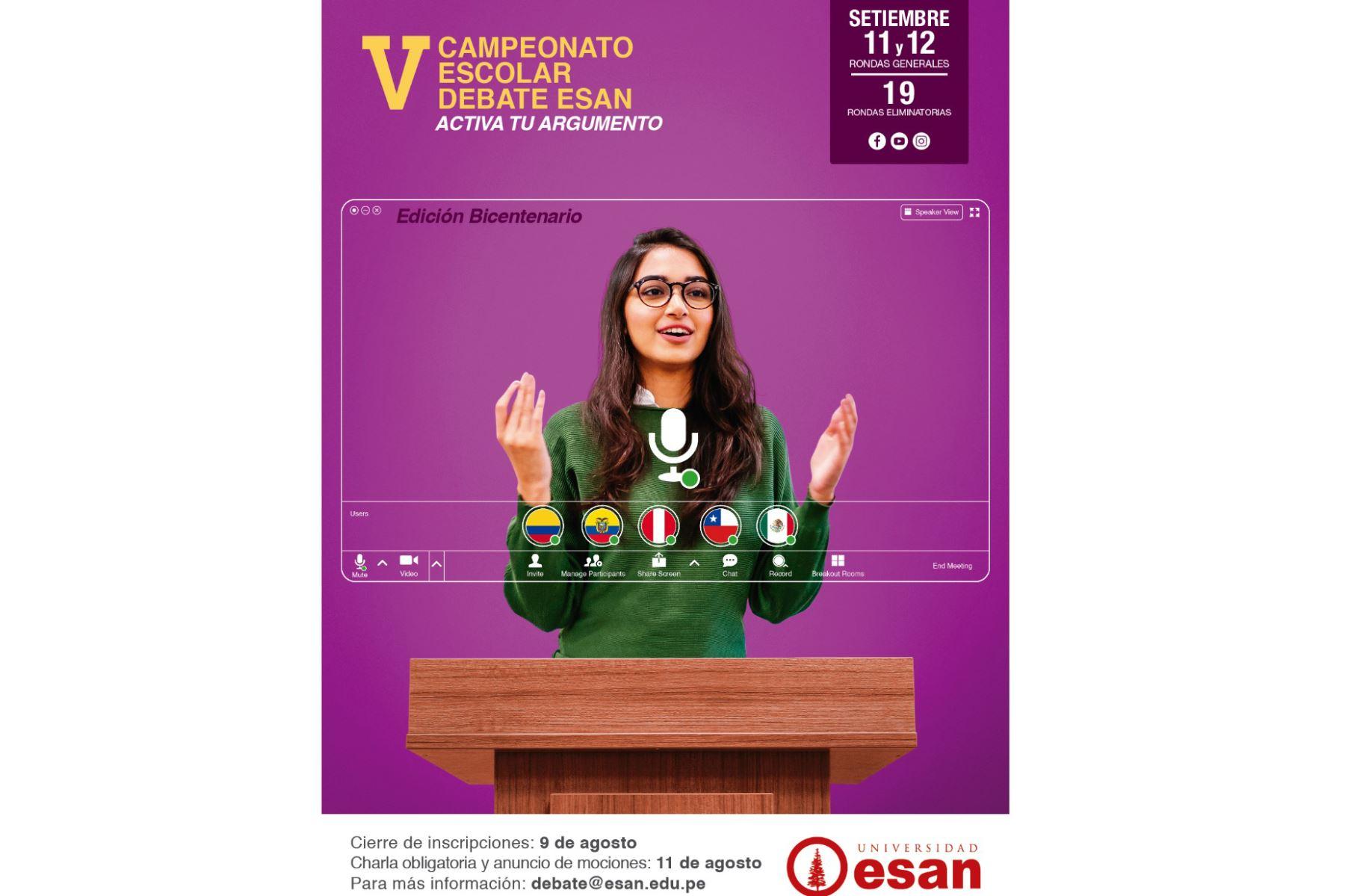 Conoce a los ganadores del V Campeonato Escolar Debate ESAN